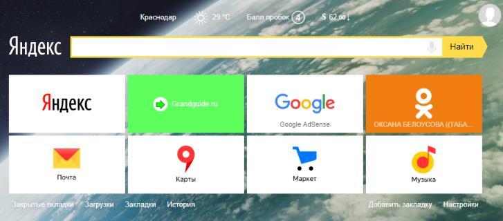 Визуальные закладки Яндекс для Google Chrome