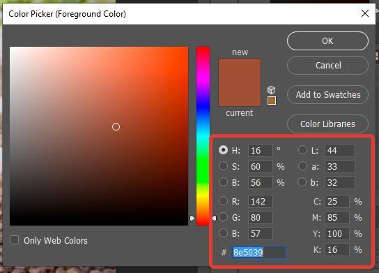 Посмотреть код цвета в Photoshop