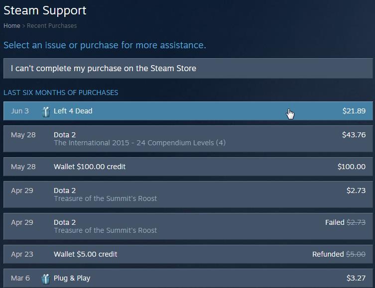 Список купленных игр в Steam
