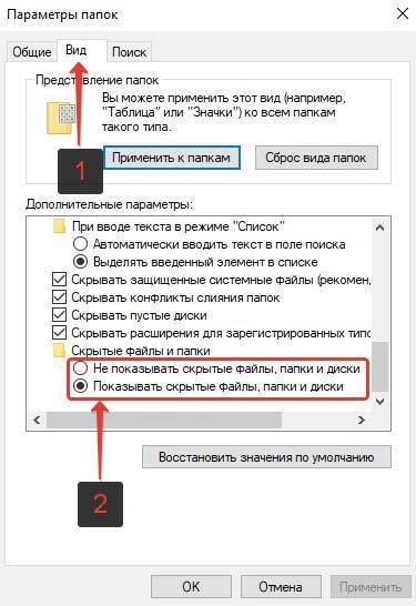 Показать скрытые файлы, папки и диски Windows