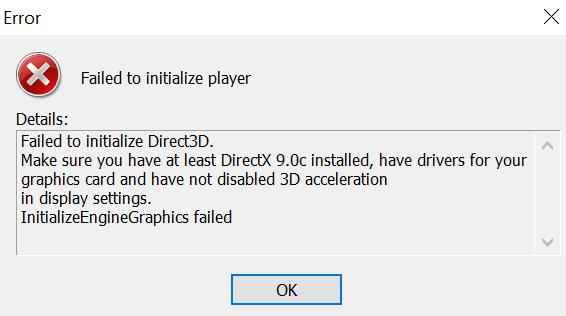 Failed to initialize Direct3D ошибка