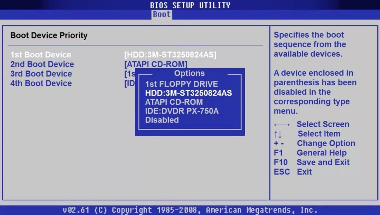 Приоритет загрузки с устройств в BIOS