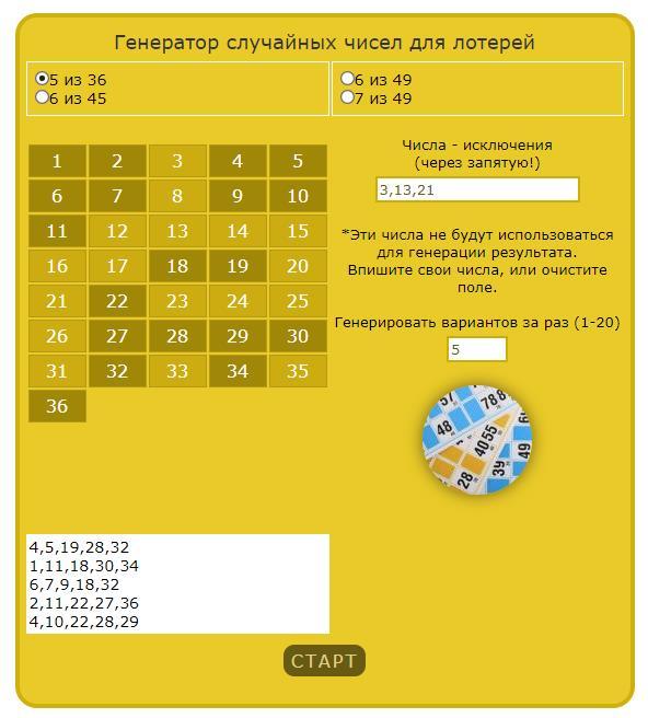Рандомайзер случайных чисел онлайн
