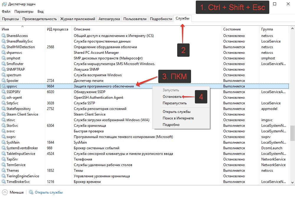 Как отключить sppsvc.exe, если он грузит процессор