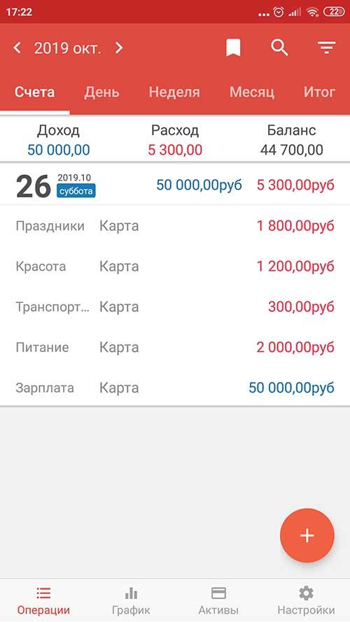 Money Manager - Учет доходов и расходов на Android