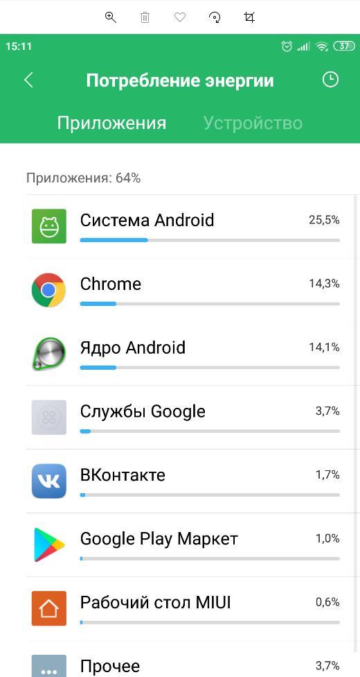Посмотреть потребление энергии приложениями Android