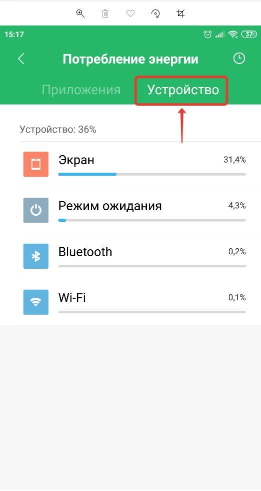 Потребление энергии устройства Android