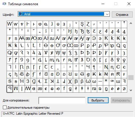 Таблица символов Unicode