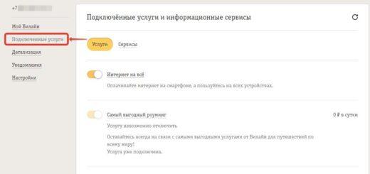 Отключение опции интернета Хайвей на Beeline