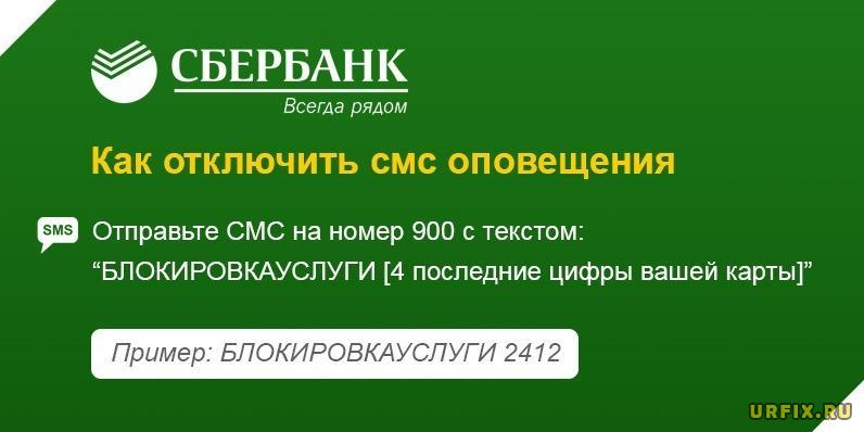 Отключить SMS-оповещения Сбербанк