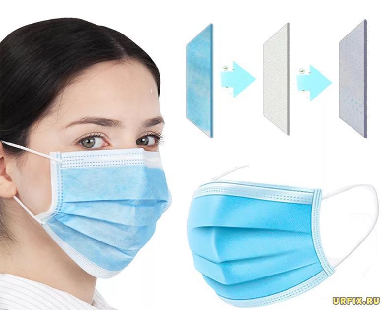 3 слоя у одноразовой медицинской маски