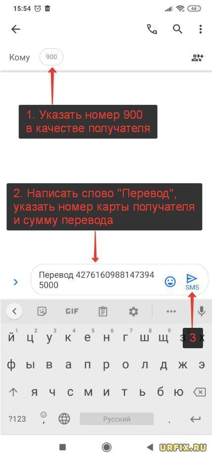 Перевести деньги через СМС Сбербанк по номеру карты