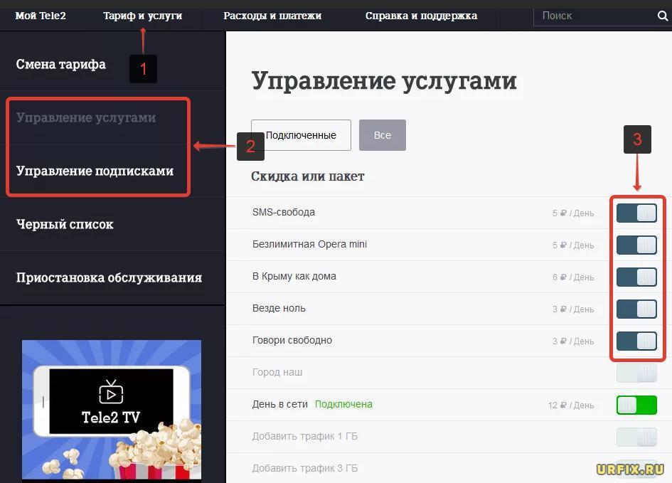 Проверить платные подписки на Теле2 и отключить