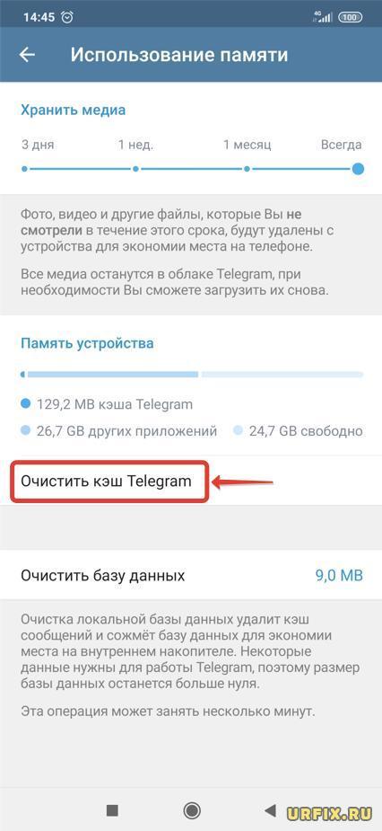 Очистить кэш Telegram